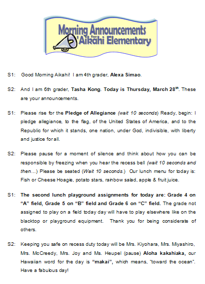 Aikahi Elementary School Morning Announcements for Thursday, March ...