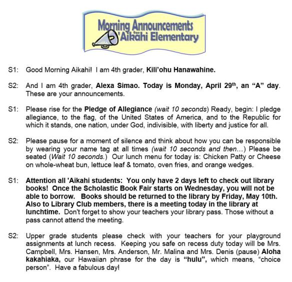 Aikahi Elementary School Announcements for Monday, April