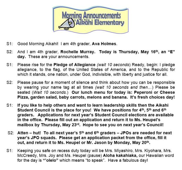 Aikahi Elementary School Announcements for Thursday, May 16, 2013