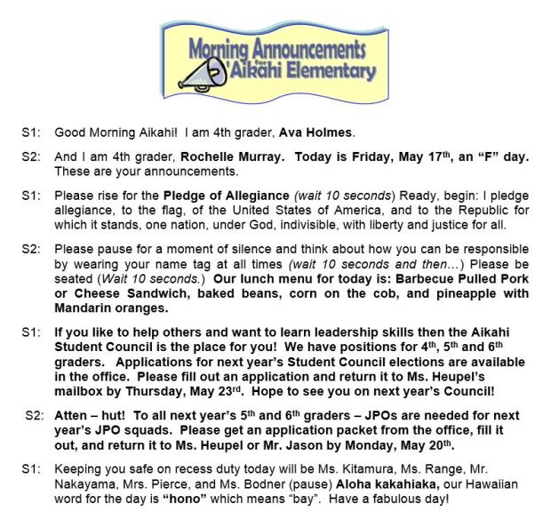 Aikahi Elementary School Announcements for Friday, May 17, 2013