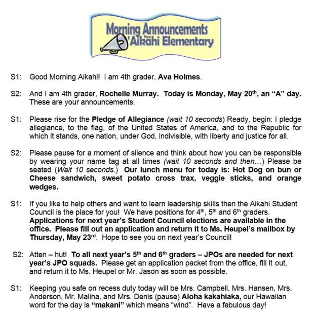 Aikahi Elementary School Announcements for Monday, May 20, 2013