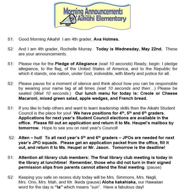 Aikahi Elementary School Announcements for Wednesday, May 22, 2013