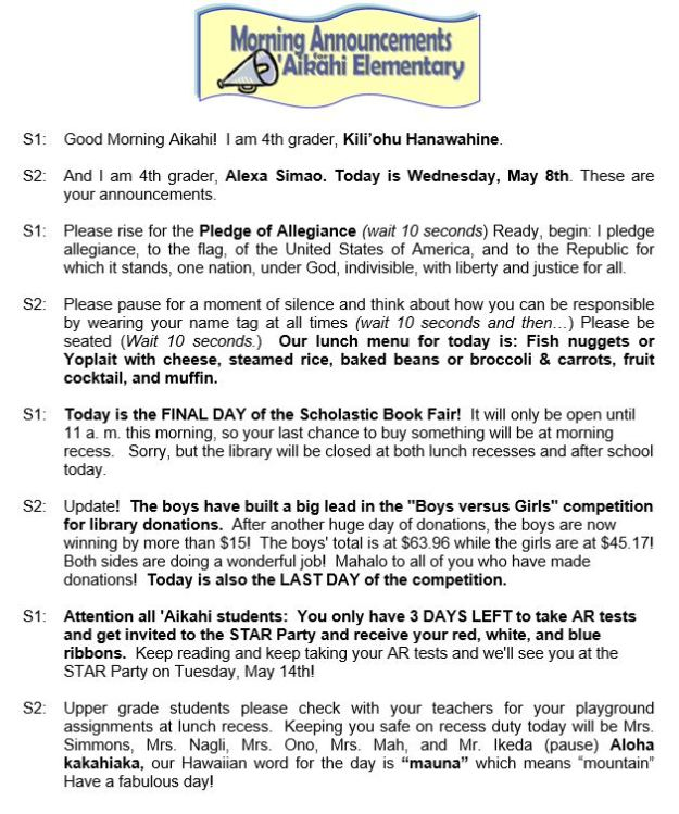 Aikahi Star Reader Program Aikahi Elementary PTA