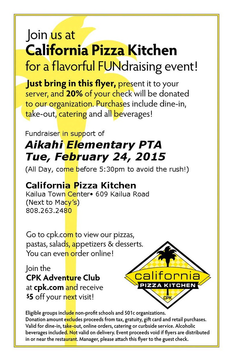 Eat Out with Aikahi at CPK Tomorrow Night! | \'Aikahi Elementary PTA