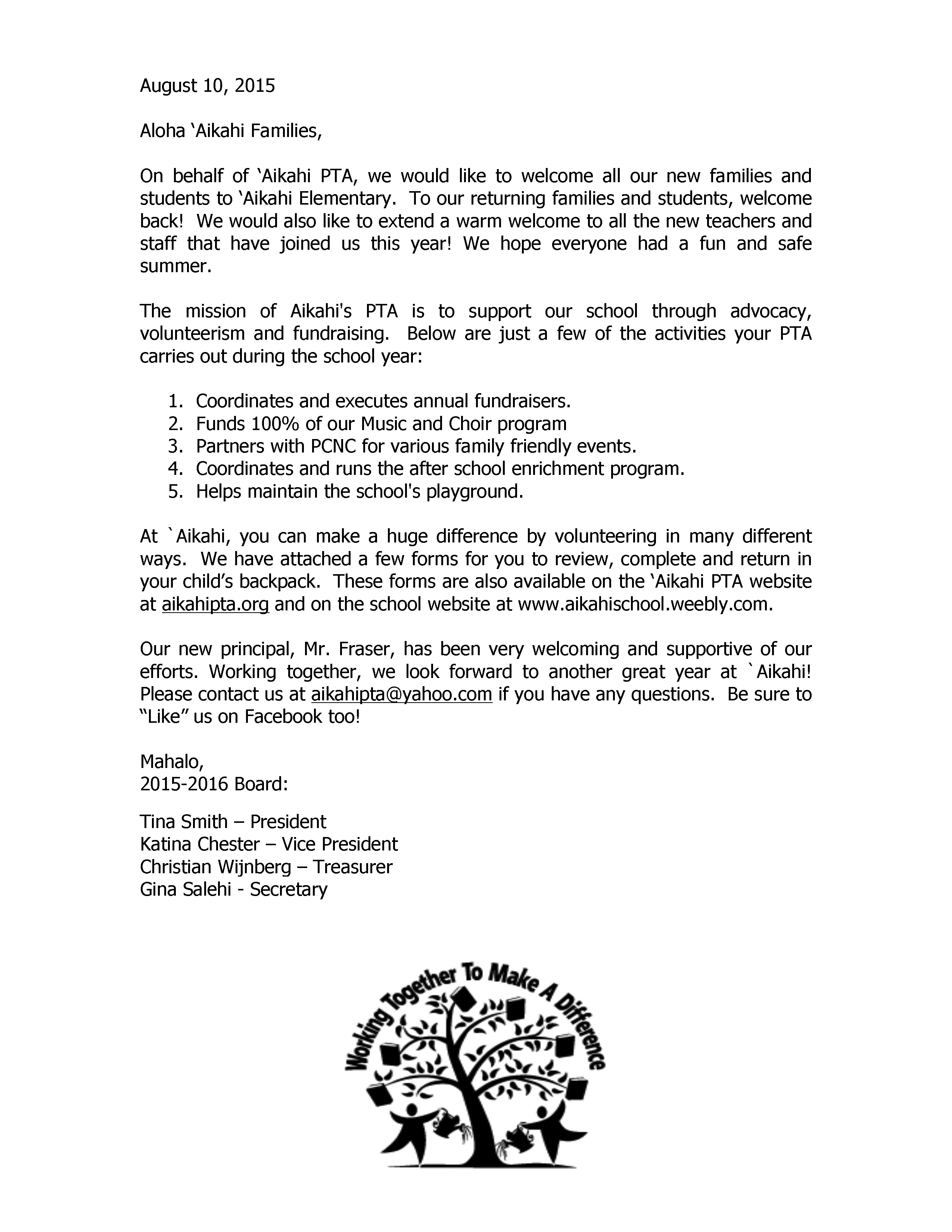 Welcome letter aikahi elementary pta 2015 welcome letter altavistaventures Images